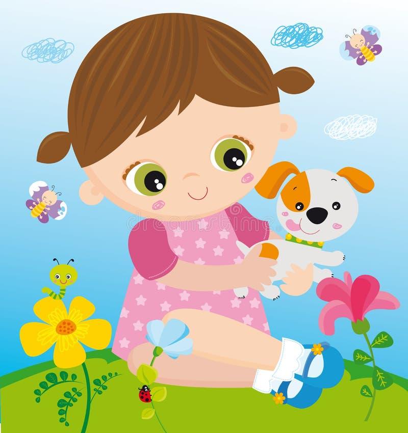 Menina com animal de estimação ilustração do vetor