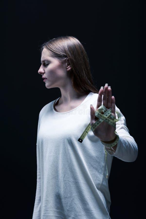 Menina com anorexia foto de stock