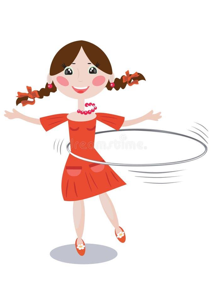 Menina com aro ilustração stock