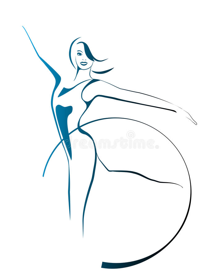 Menina com aro ginástica ilustração do vetor