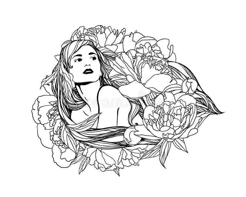 Menina com as flores da peônia no cabelo ilustração stock