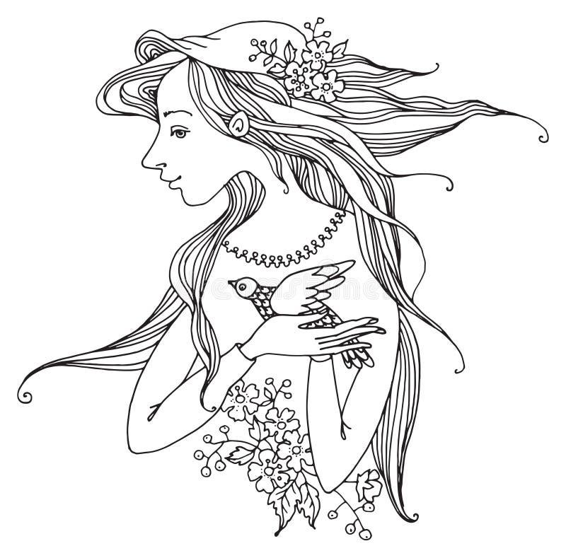 Menina com as flores e o pássaro, desenhados à mão ilustração royalty free