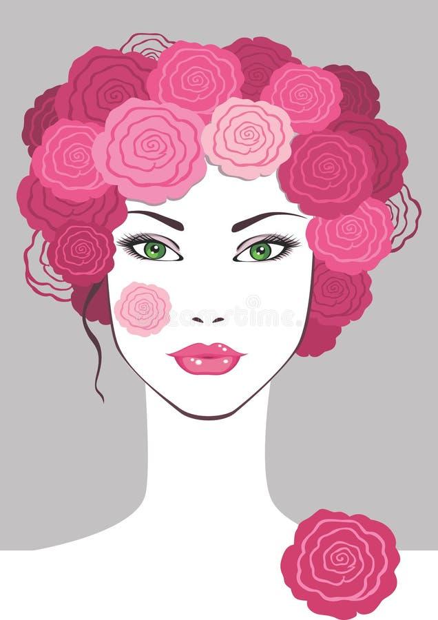 Menina com as flores no cabelo ilustração royalty free