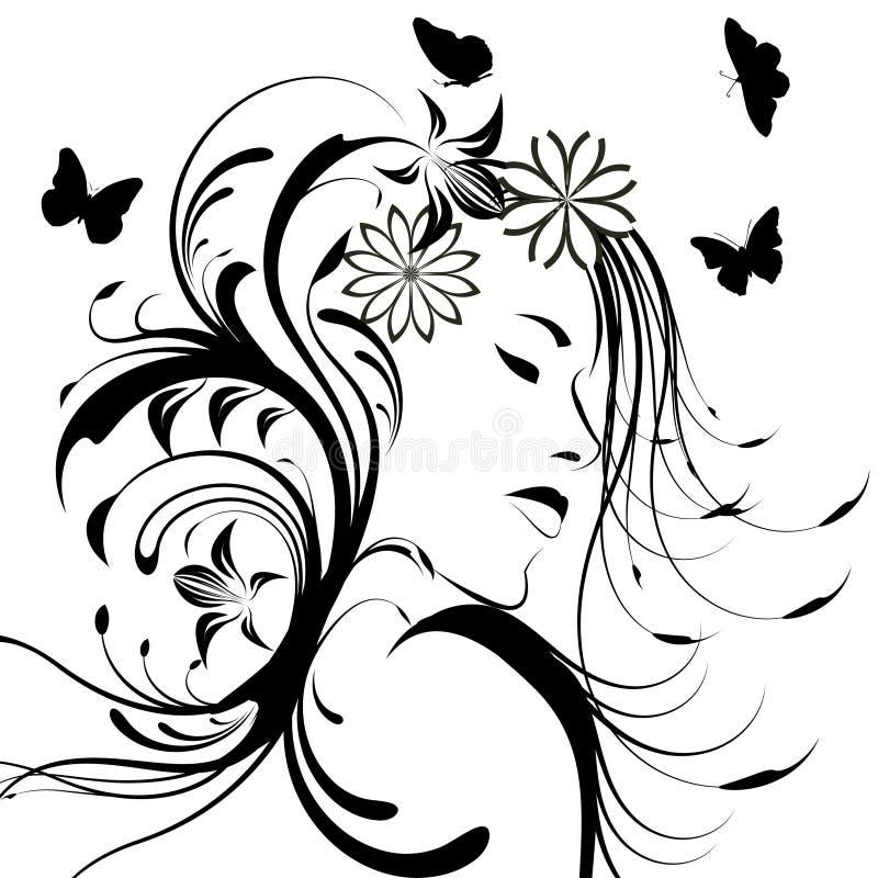 menina com as flores no cabelo