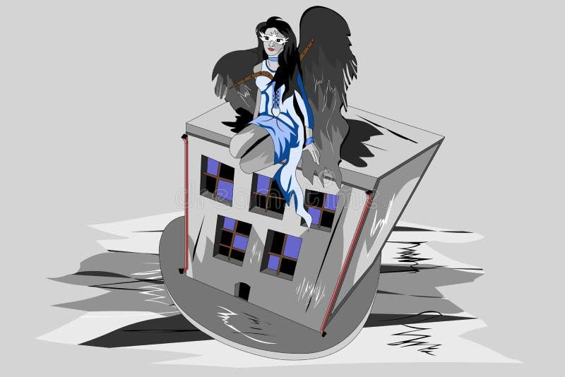 menina com asas do anjo ilustração do vetor