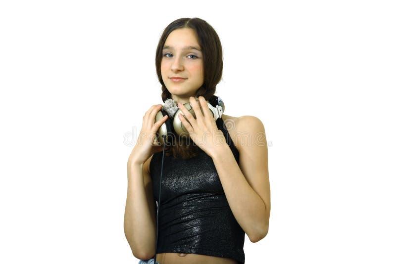 Menina com auscultadores imagens de stock