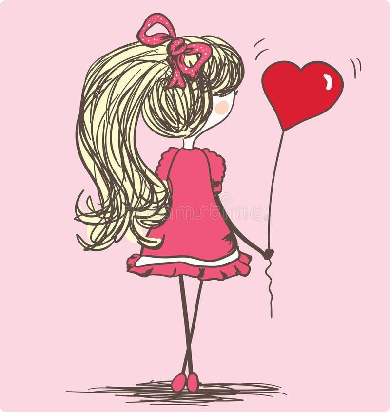 Menina com balão ilustração do vetor
