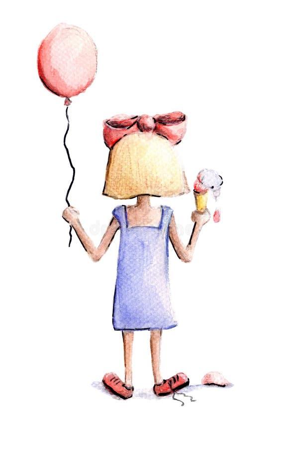 Menina com balão e gelado ilustração do vetor