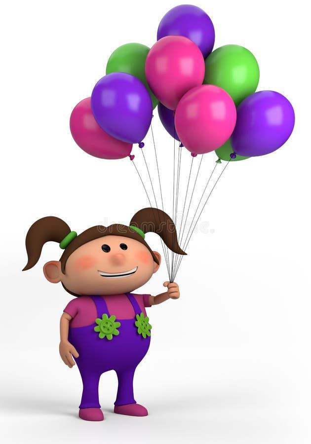 Menina com balões ilustração do vetor