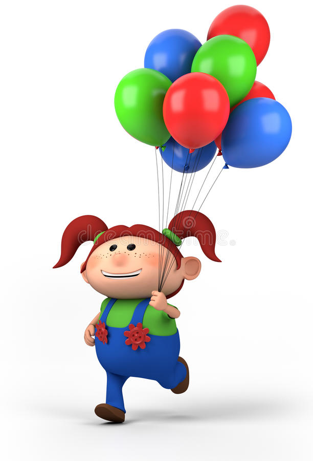 Menina com balões ilustração stock