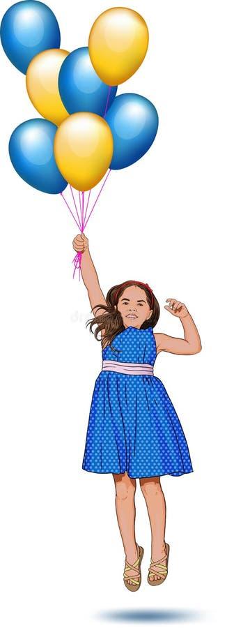 Menina com balões ilustração royalty free