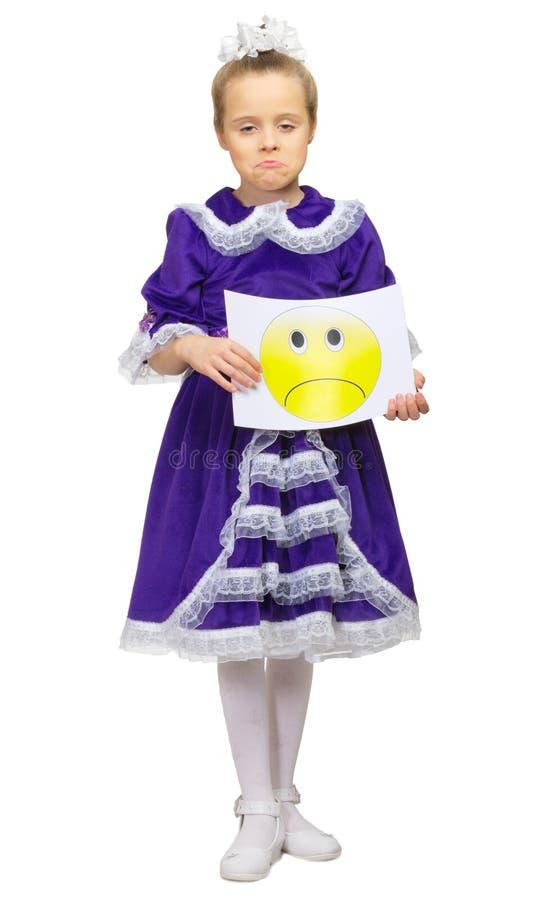 Menina com bandeira triste fotos de stock