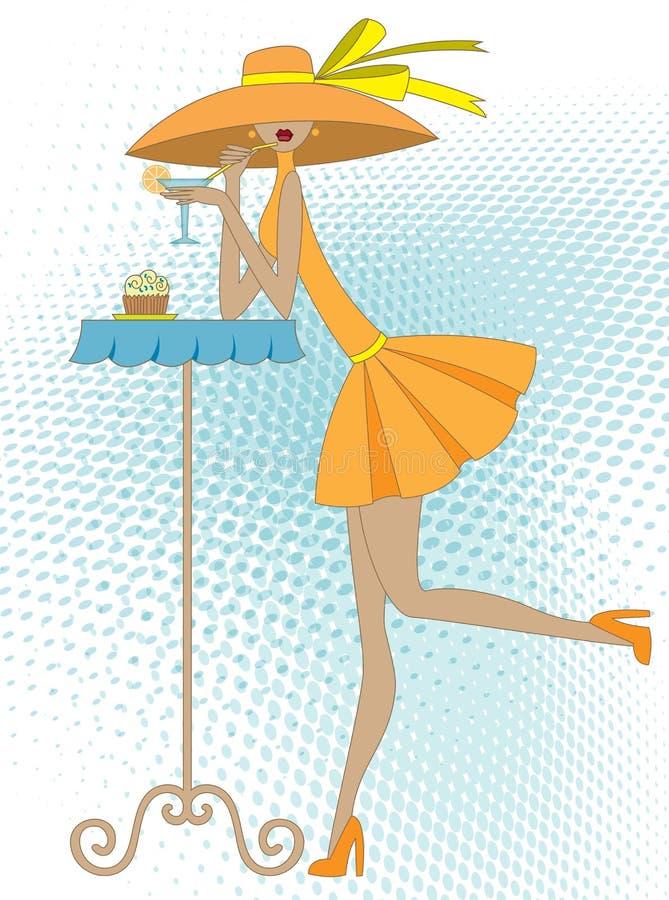 Menina com bebida ilustração stock
