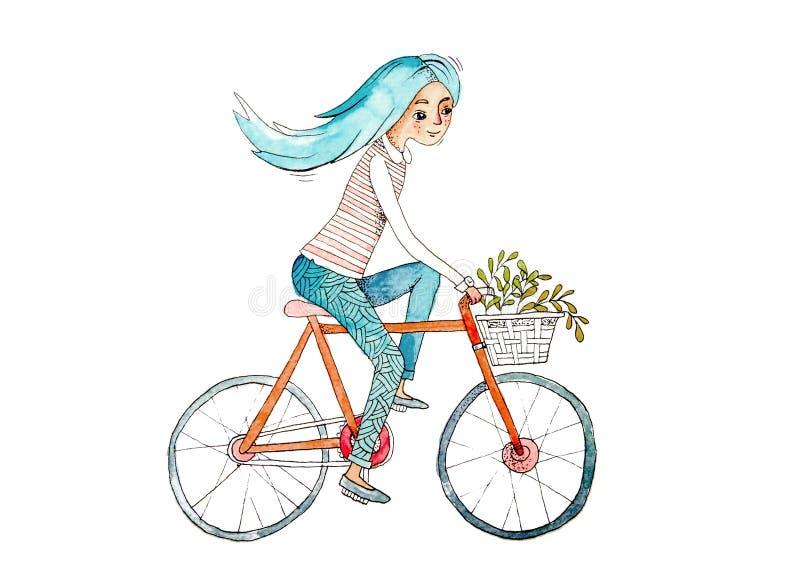 Menina com bicicleta Ilustração tirada mão da aguarela Composição do verão ilustração stock