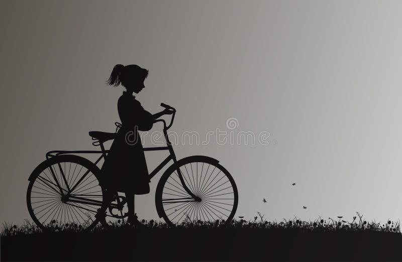 Menina com a bicicleta no campo com grama e flor, memórias da infância, ilustração royalty free