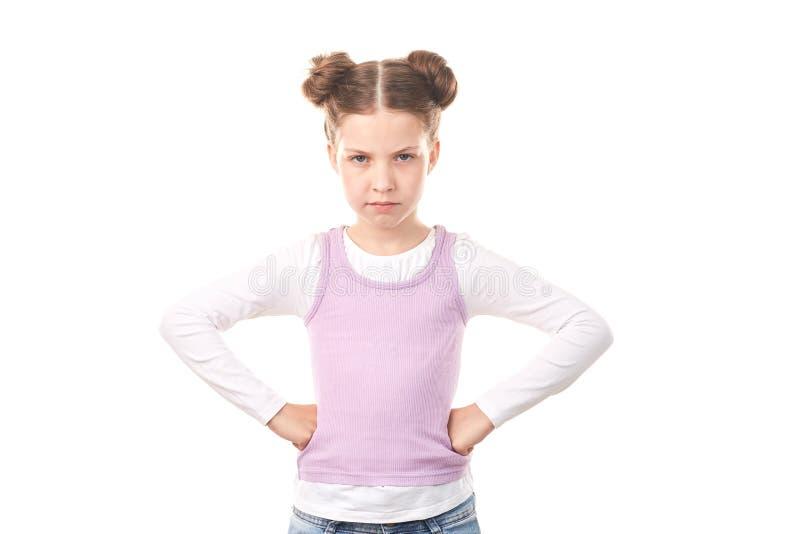 Menina com bolos do cabelo imagens de stock