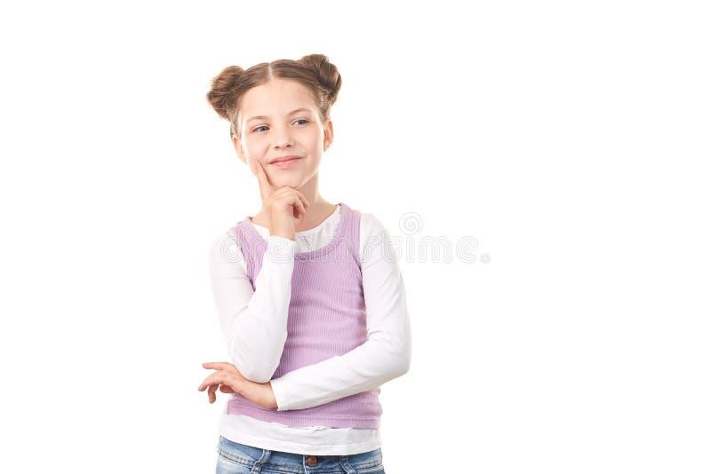 Menina com bolos do cabelo fotografia de stock