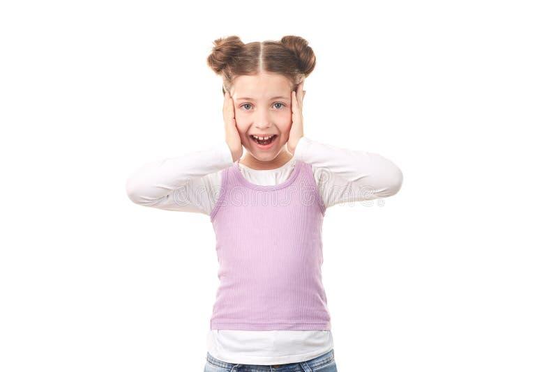 Menina com bolos do cabelo imagem de stock