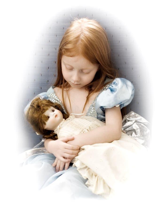 Menina com boneca imagens de stock