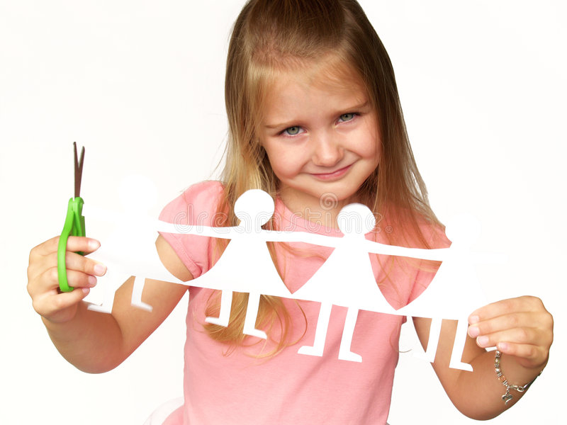 Menina com bonecas de papel fotos de stock royalty free