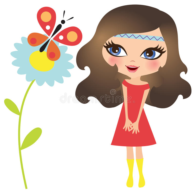 Menina com borboleta ilustração stock