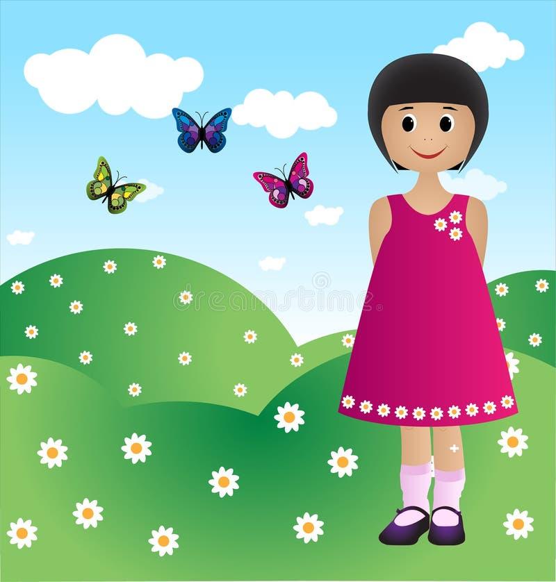 Menina com borboletas ilustração do vetor