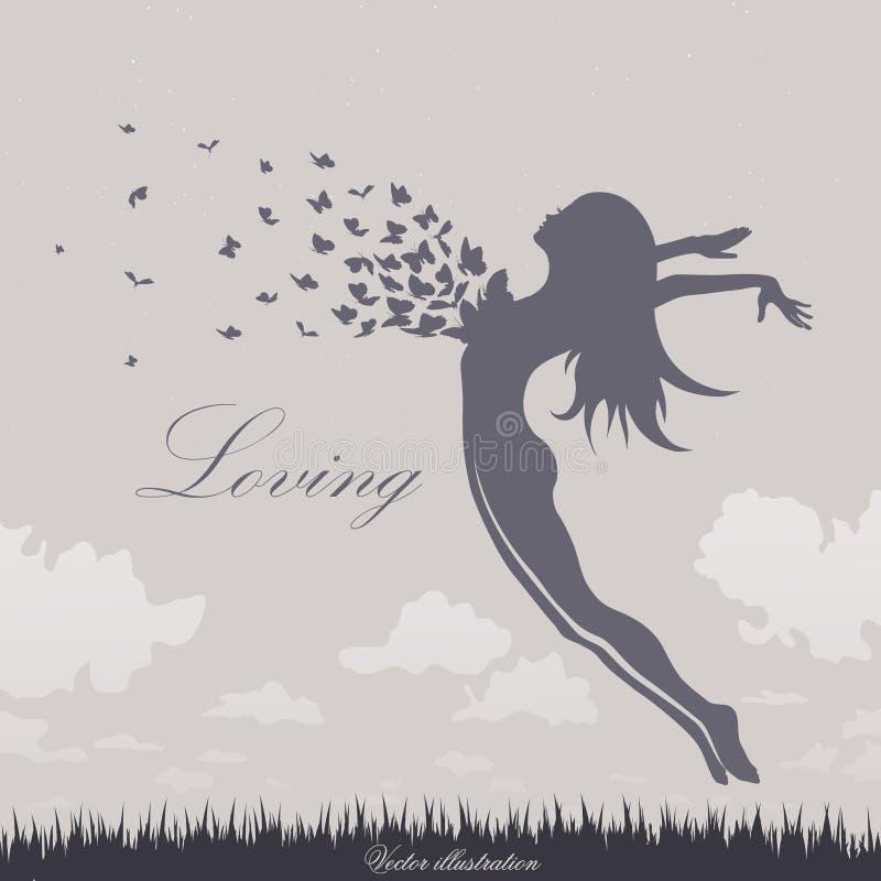 Menina com borboletas em um salto ilustração royalty free