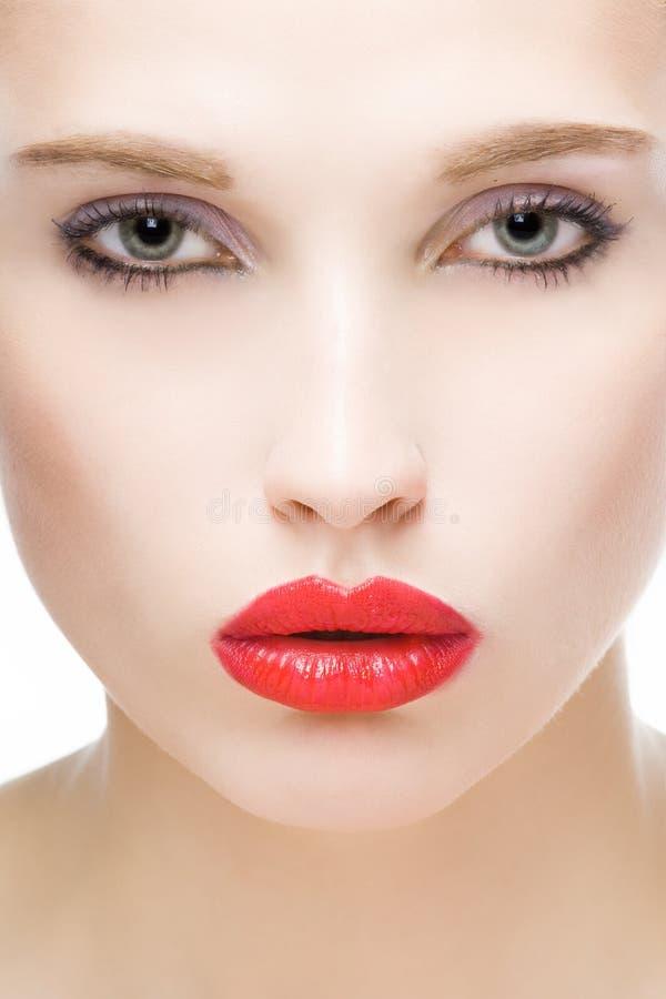 Menina com bordos vermelhos foto de stock royalty free
