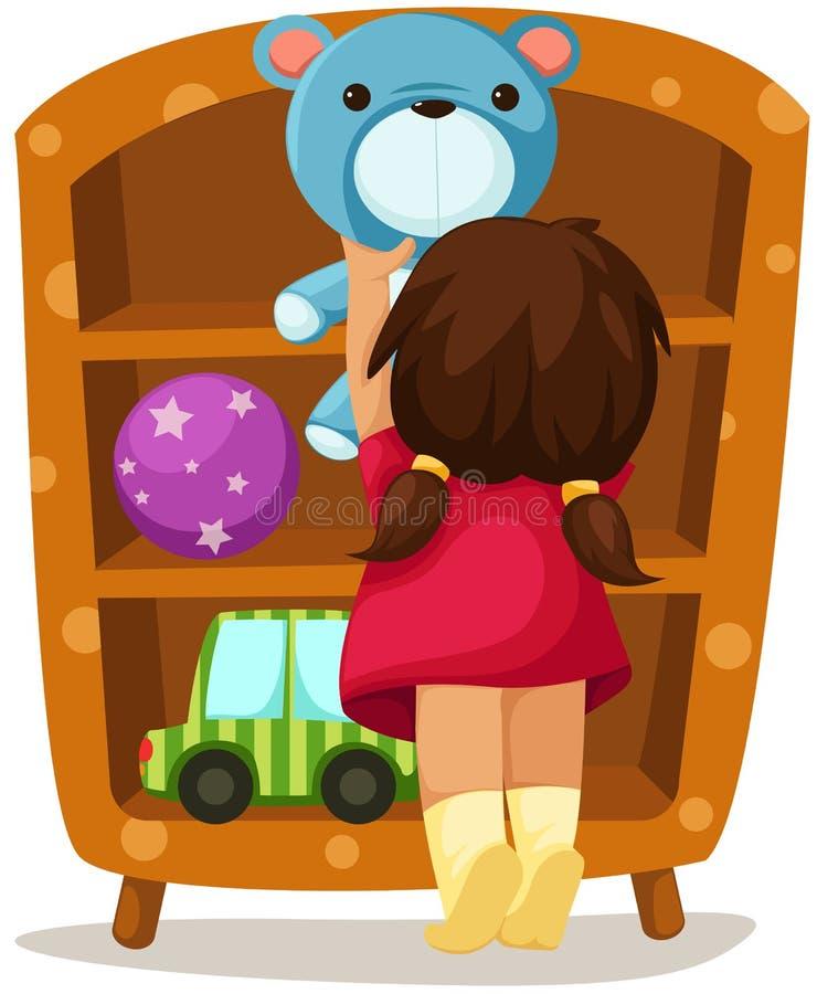 Menina com brinquedos ilustração do vetor