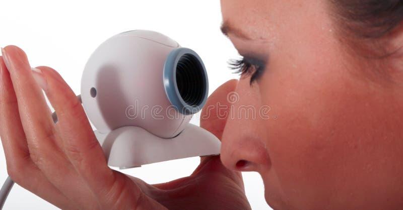 Menina com câmara web imagem de stock