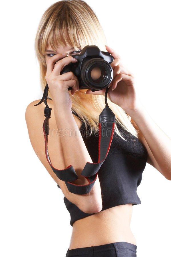 A menina com a câmera foto de stock royalty free