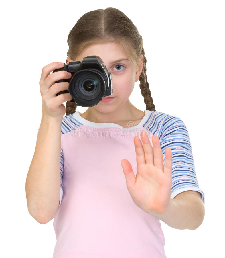Menina com a câmera imagem de stock