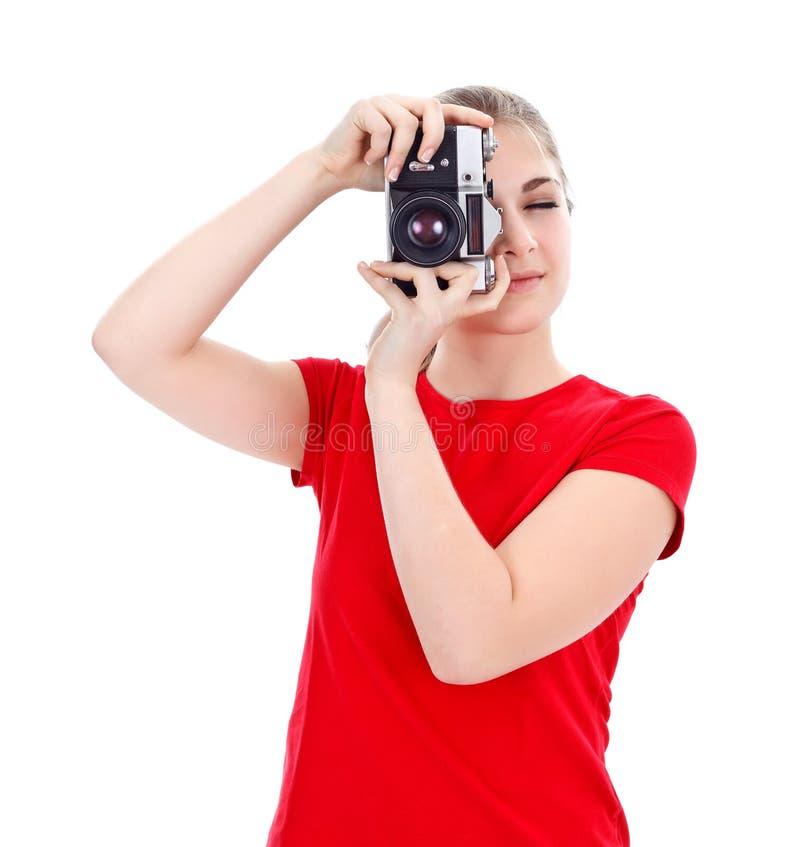 Menina com a câmera do estilo velho foto de stock royalty free