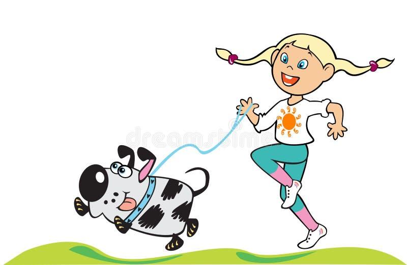 Menina com cão ilustração stock