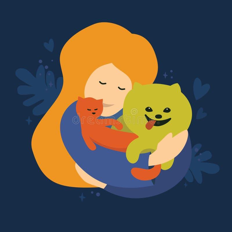 Menina com cão e gato ilustração do vetor