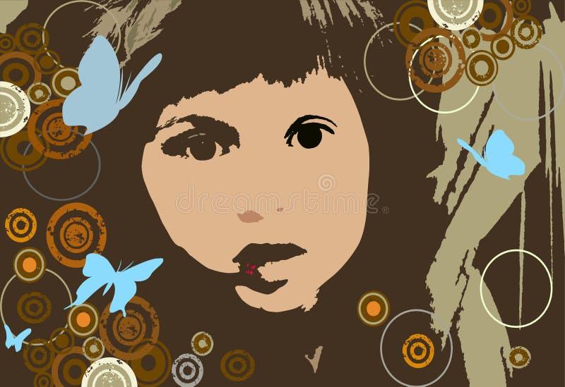 Menina com círculos ilustração royalty free