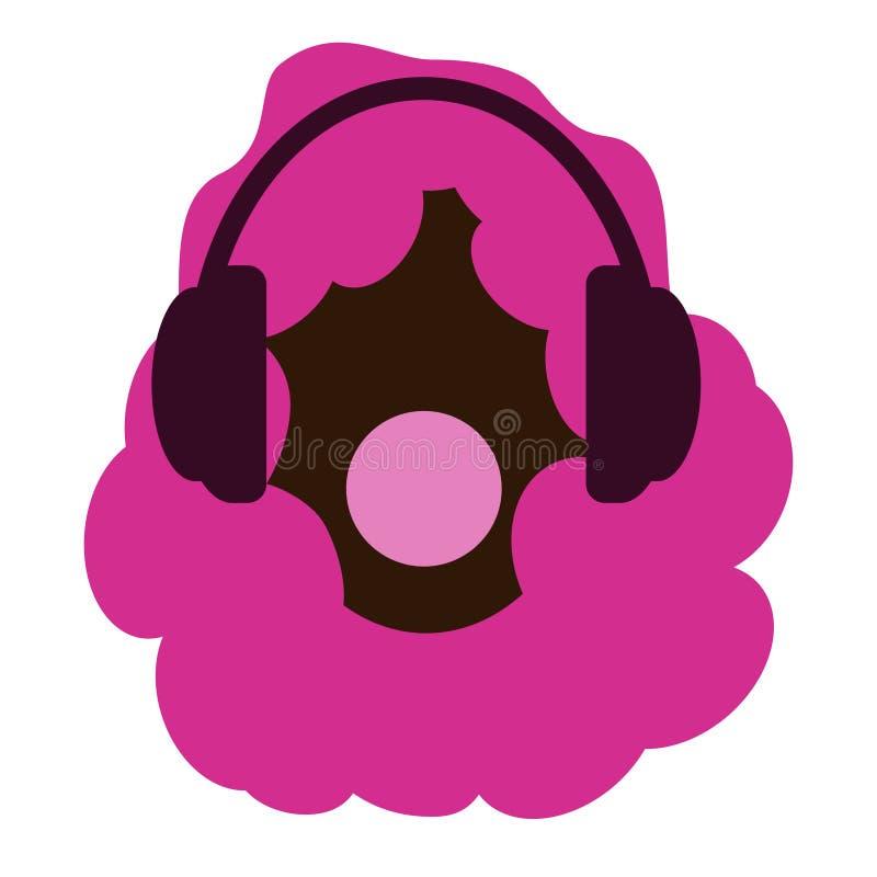 Menina com cabelo afro cor-de-rosa Fones de ouvido e música Novo e corajoso Pastilha elástica Fundo branco Mulheres afro-american ilustração stock