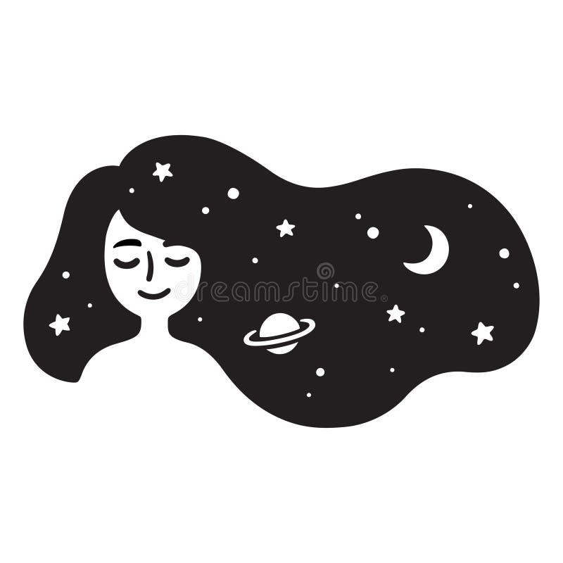 Menina com cabelo da galáxia ilustração do vetor