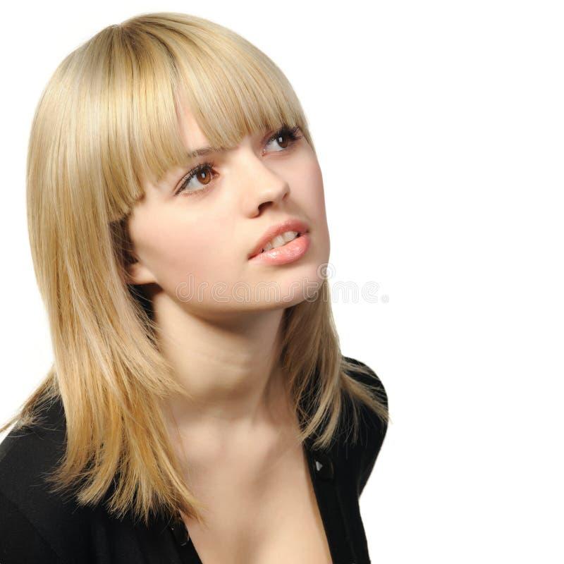 A menina com cabelo de foto de stock