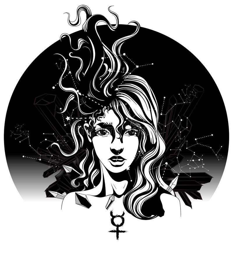 Menina com cabelo do vôo ilustração do vetor
