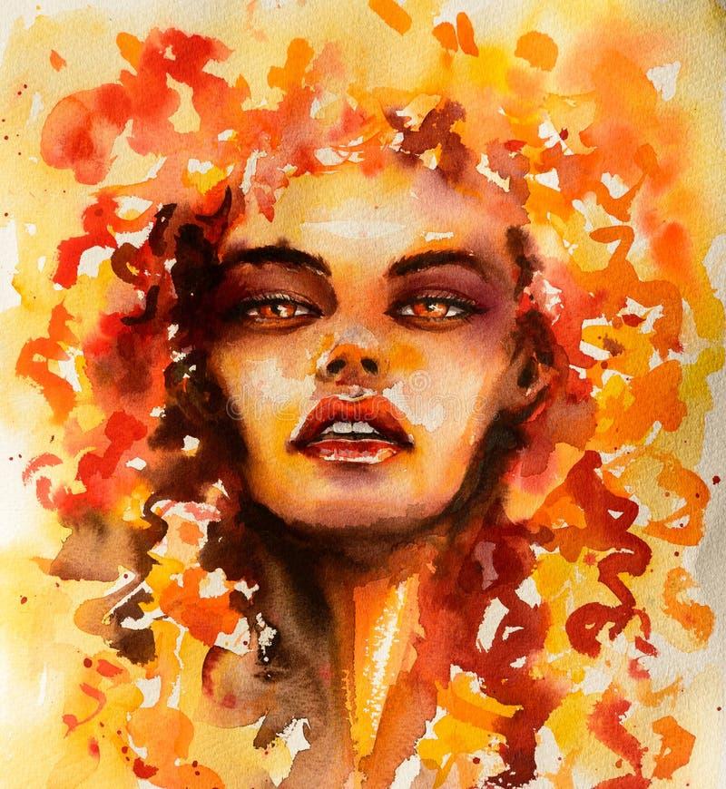 A menina com cabelo encaracolado floral descreveu o elemento do fogo ilustração royalty free