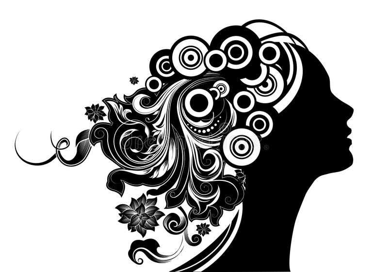 Menina com cabelo floral ilustração do vetor