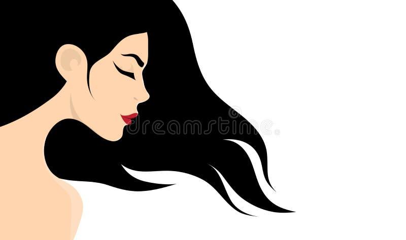 Menina com cabelo longo ilustração royalty free