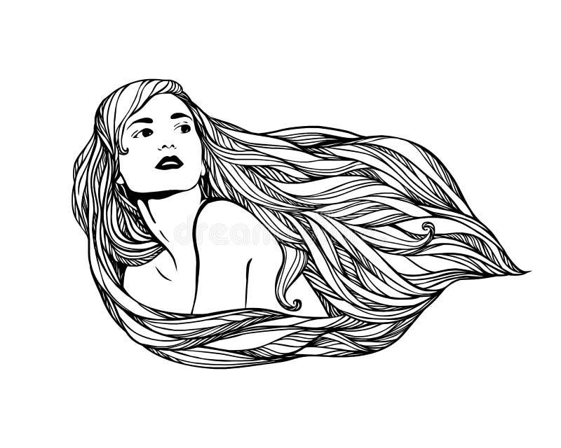 Menina com cabelo longo ilustração stock