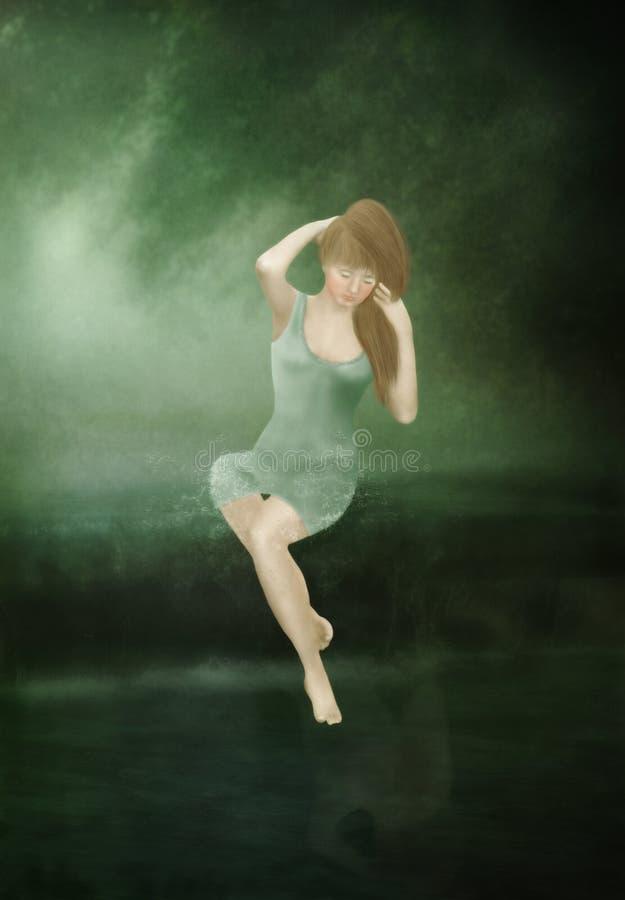 Menina com cabelo longo no vestido verde ilustração do vetor