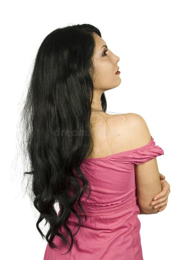 Menina com cabelo longo preto   imagens de stock