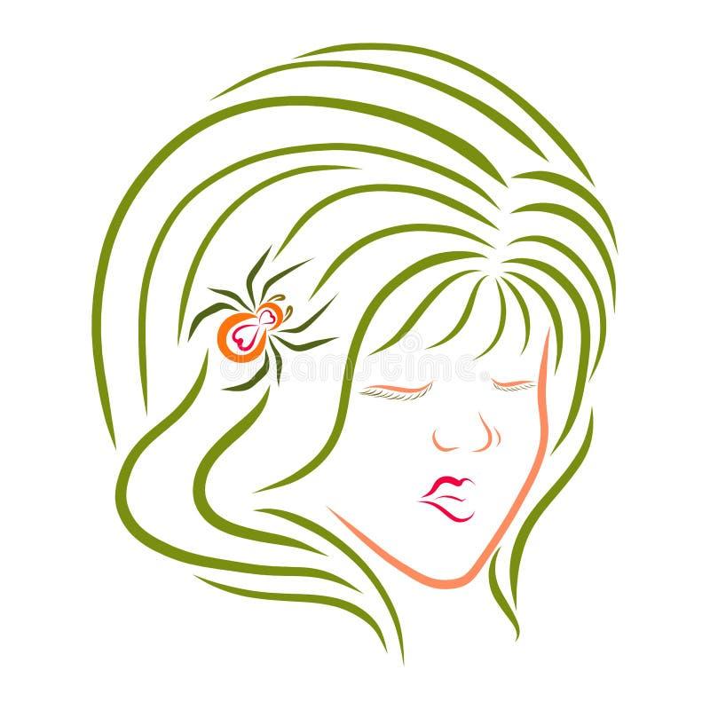 Menina com cabelo verde e uma imagem da aranha, a festiva ou a feericamente ilustração stock