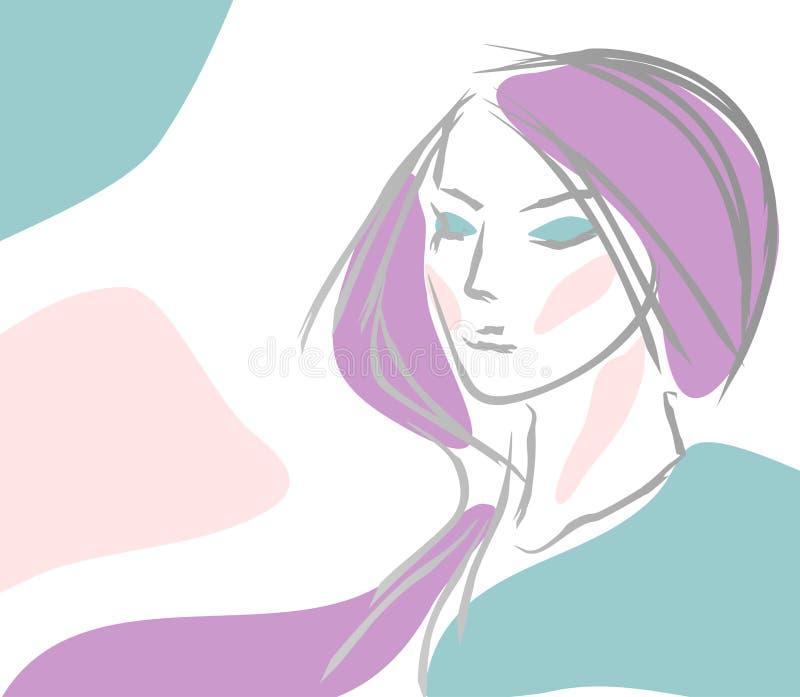 Menina com cabelo violeta ilustração do vetor