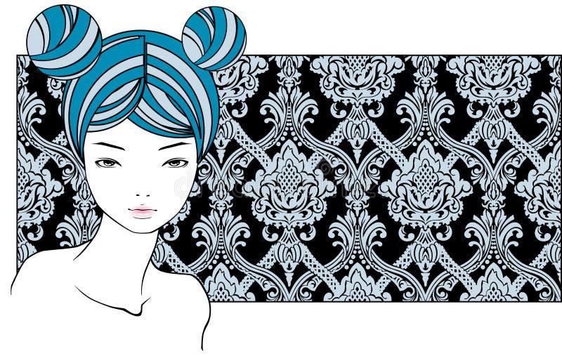 Menina com cabelos azuis ilustração stock