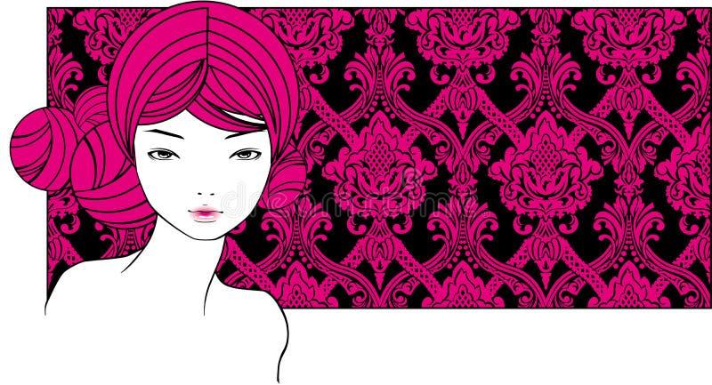 Menina com cabelos cor-de-rosa ilustração do vetor